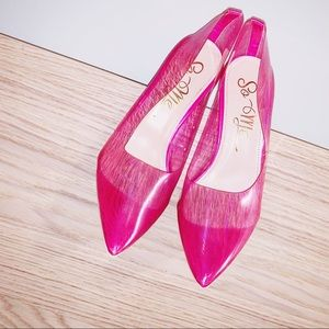 Pink Silicone Clear Heel Pumps